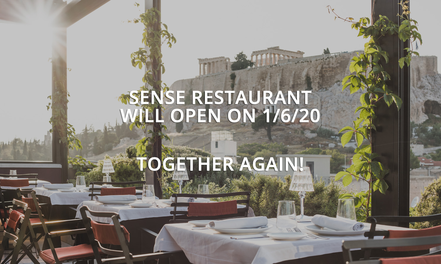 SENSE Restaurant with Acropolis view and sun shinning