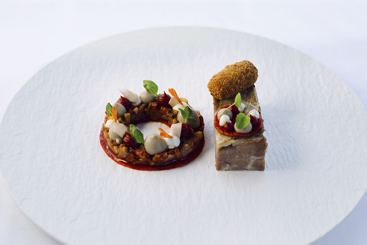 Image of SENSE Restaurant dish with lamb neck, florina sweet red pepper and smoked yogurt